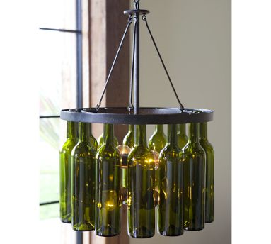 Diy recycled wine bottle chandelier as much as i like the idea of pottery barn recycling and making this great chandelier the price tag is a bit steep making it a bit out of my price range aloadofball Choice Image